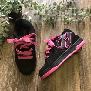 Kids Heely's Roller Skate Tennis Shoes Black Pink